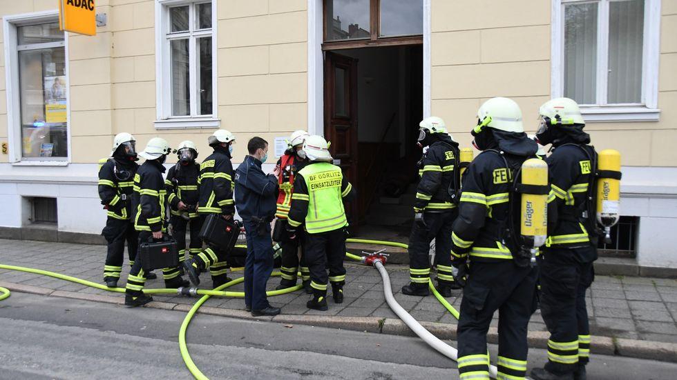 Feuerwehreinsatz am Wilhelmsplatz in Görlitz.