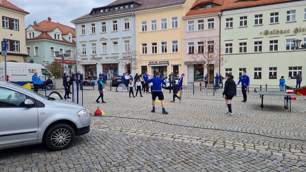 Sportdemo auf dem Kamenzer Marktplatz